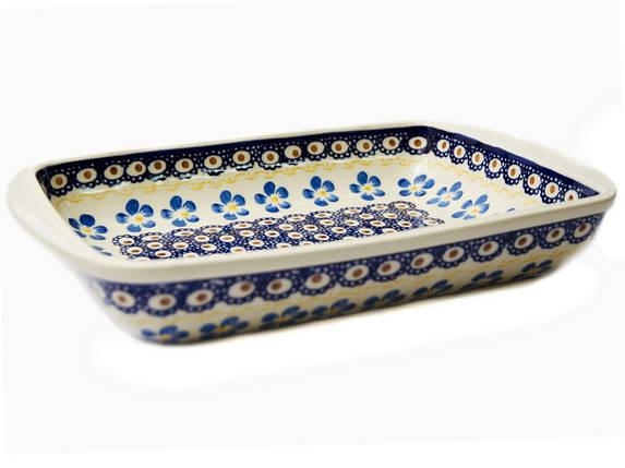 Керамическая форма для выпечки и запекания прямоугольная малая 29,5 х 20,5 с ушками 12 Блакитна квітка, фото 2