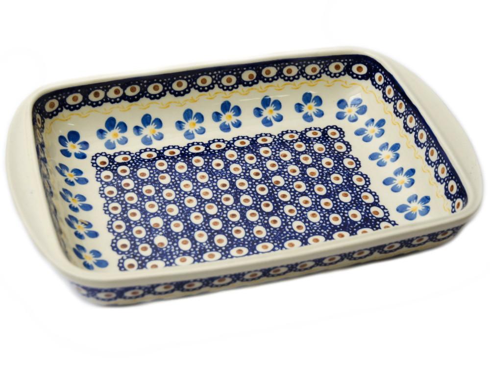 Керамическая форма для выпечки и запекания прямоугольная малая 29,5 х 20,5 с ушками 12 Блакитна квітка