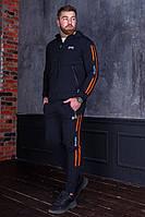 Мужской спортивный костюм с полосками по бокам Черный