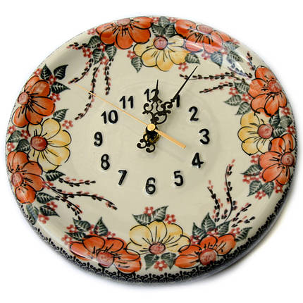 Часы настенные круглые керамические 24 Мальвы, фото 2