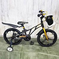 Легкий Детский Испанский Велосипед с корзинкой  18 дюймов GALAXY Черый  Магниевая рама Сборка 85%