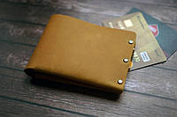 Мужской кожаный кошелек рыжий HANDCRAFT IN UA  , фото 1