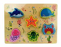 Деревянная игрушка Рамка-вкладыш MD 1186 (Морские животные)