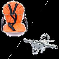 Велокресло детское на женскую раму, скошенную раму Оранжевый