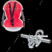 Велокресло детское на женскую раму, скошенную раму Красно-Розовый