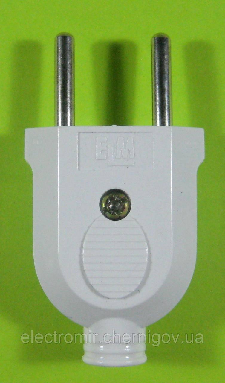 Вилка электрическая прямая без заземления ELM 10A 250V (белая)