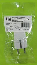 Вилка електрична пряма з заземленням ELM 16А 250V (біла)