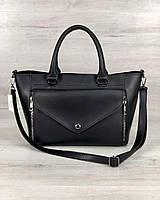 Вместительная стильная женская сумка среднего размера черного цвета 22х35х11см