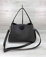 Вместительная женская сумка среднего размера на три отделения серого цвета 20х29х11см
