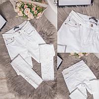 0423 Periscope джинсы женские белые с декоративной отделкой летние стрейчевые (36-42, евро, 8 ед.), фото 1