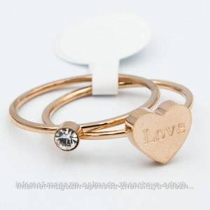 Кольцо стальное с сердечком в цвете под золото, размер - 16,17,18,19, цвет - золото