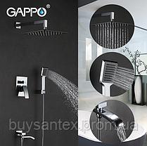 Вбудований змішувач для ванни з 3-функціями виливши є перемикачем на лійку хром Gappo Jacob G7107, фото 3