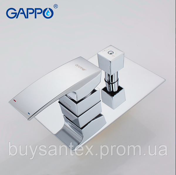 Вбудований змішувач для ванни з 3-функціями виливши є перемикачем на лійку хром Gappo Jacob G7107
