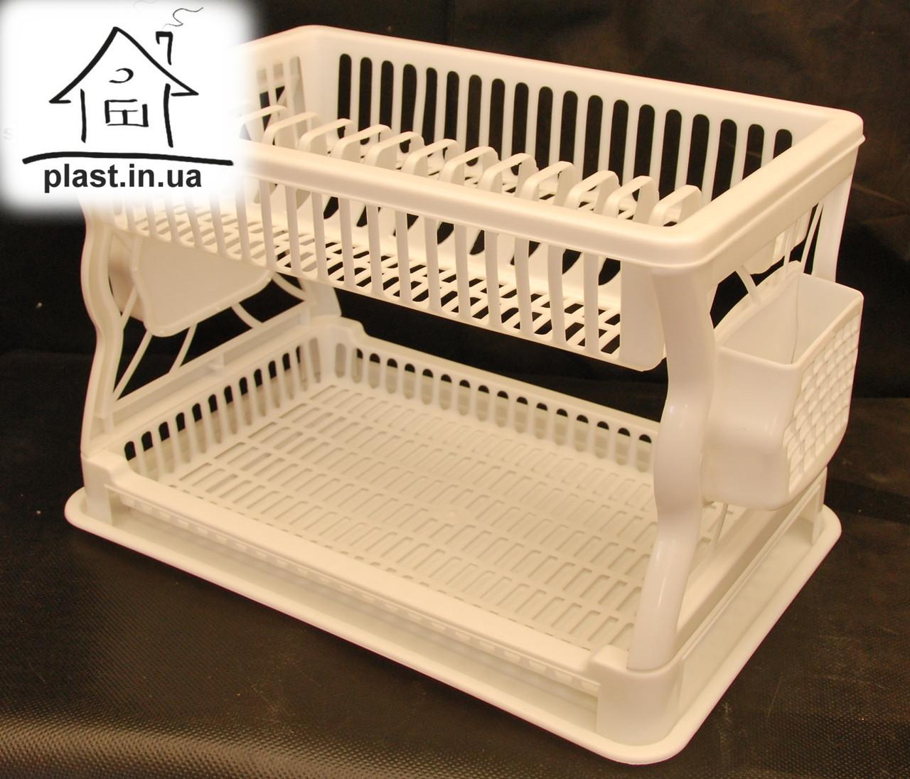 Пластиковая сушилка для посуды двухъярусная С018 белая