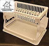 Пластиковая сушилка для посуды двухъярусная С018 белая, фото 2
