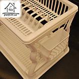 Пластиковая сушилка для посуды двухъярусная С018 белая, фото 4