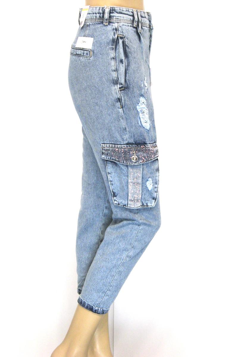 Жіночі джинси з накладними карманами із стразами