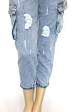 Жіночі джинси з накладними карманами із стразами, фото 2