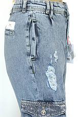 Жіночі джинси з накладними карманами із стразами, фото 3