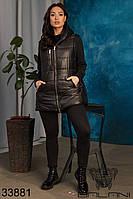 Удобный повседневный жилет на синтепоне с карманами на молнии и капюшоном с 50 по 60 размер, фото 1
