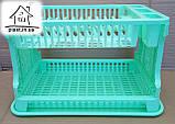 Сушарка для посуду двоярусна ажурна С028 салатова, фото 2