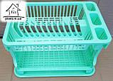 Сушарка для посуду двоярусна ажурна С028 салатова, фото 3