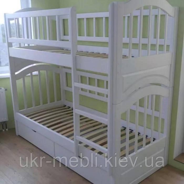 Кровать деревянная двухъярусная подростковая детская трансформер Юлия