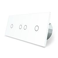Сенсорний вимикач Livolo 4 канали (1-2-1) білий скло (VL-C701/C702/C701-11), фото 1