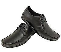 Мокасины мужские натуральная кожа черные на шнуровке (3к)