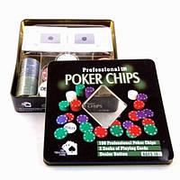 Набор для игры в покер на 100 фишек — Техасский холдем, фото 1