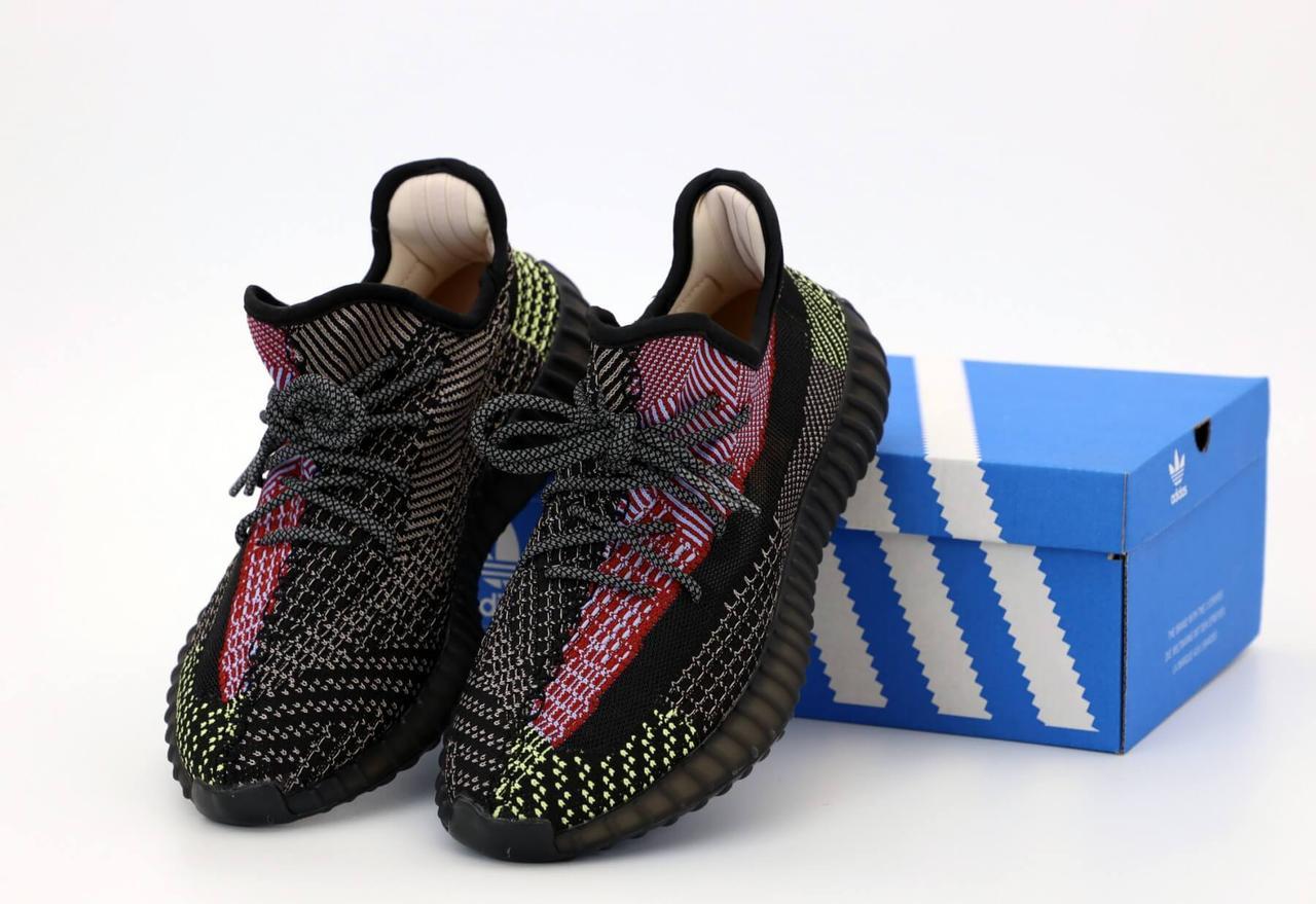 Черные рефлективные кроссовки  Adidas Yeezy Boost 350 Black Reflective (Адидас Изи Буст)