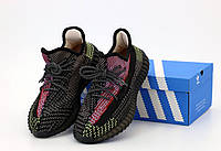 Черные рефлективные кроссовки  Adidas Yeezy Boost 350 Black Reflective (Адидас Изи Буст), фото 1