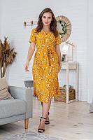 Легкое летнее платье на запах, (48-50рр), миди, за колено, принт белые цветы на горчичном