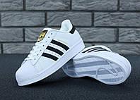 Мужские кроссовки Adidas Superstar (Адидас Суперстар), белые с черными полосками, код KD-10838