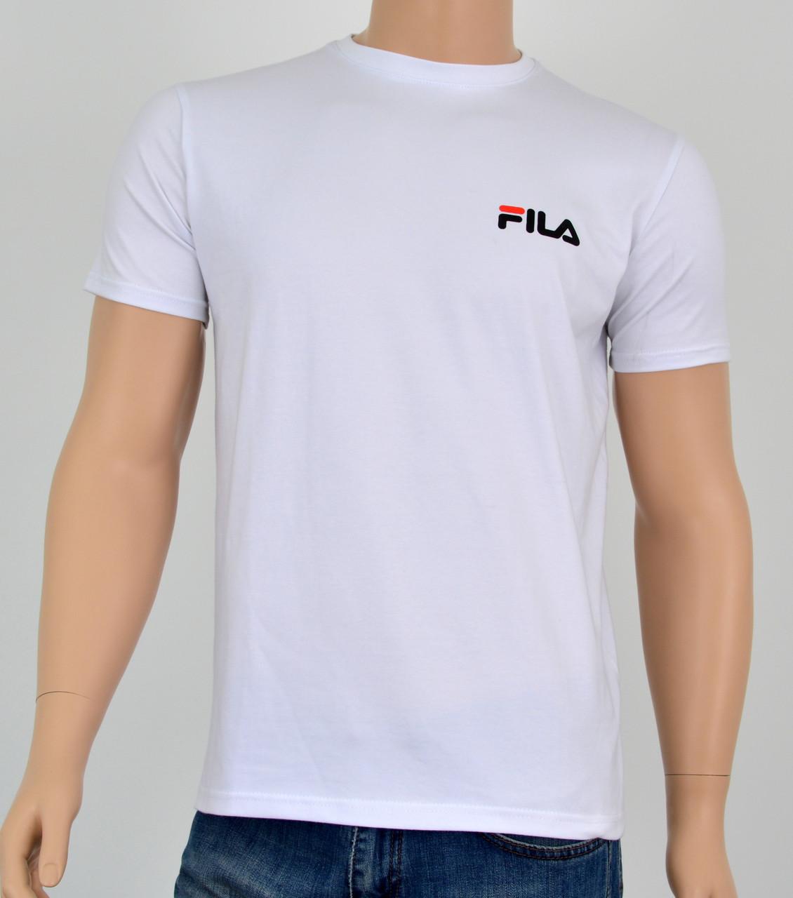"""Мужская футболка """"Премиум"""" Fila(реплика) Белый"""