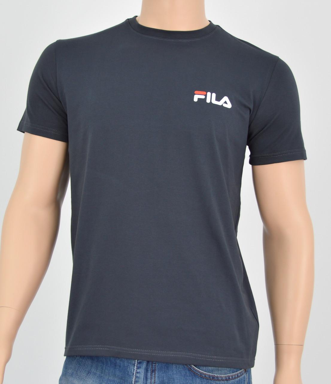 """Мужская футболка """"Премиум"""" Fila(реплика) Серый"""