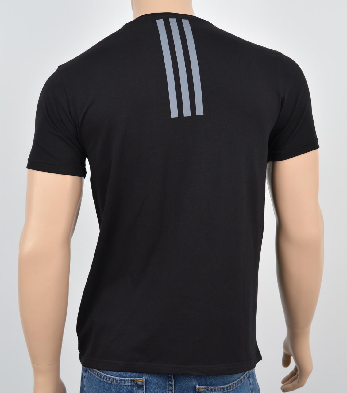 """Мужская футболка """"Премиум"""" Adidas(реплика) Спинка Черный"""