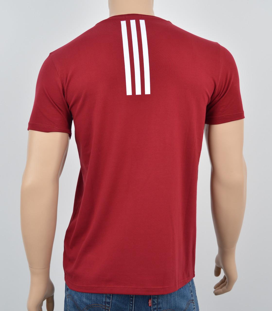 """Мужская футболка """"Премиум"""" Adidas(реплика) Спинка Бордо"""