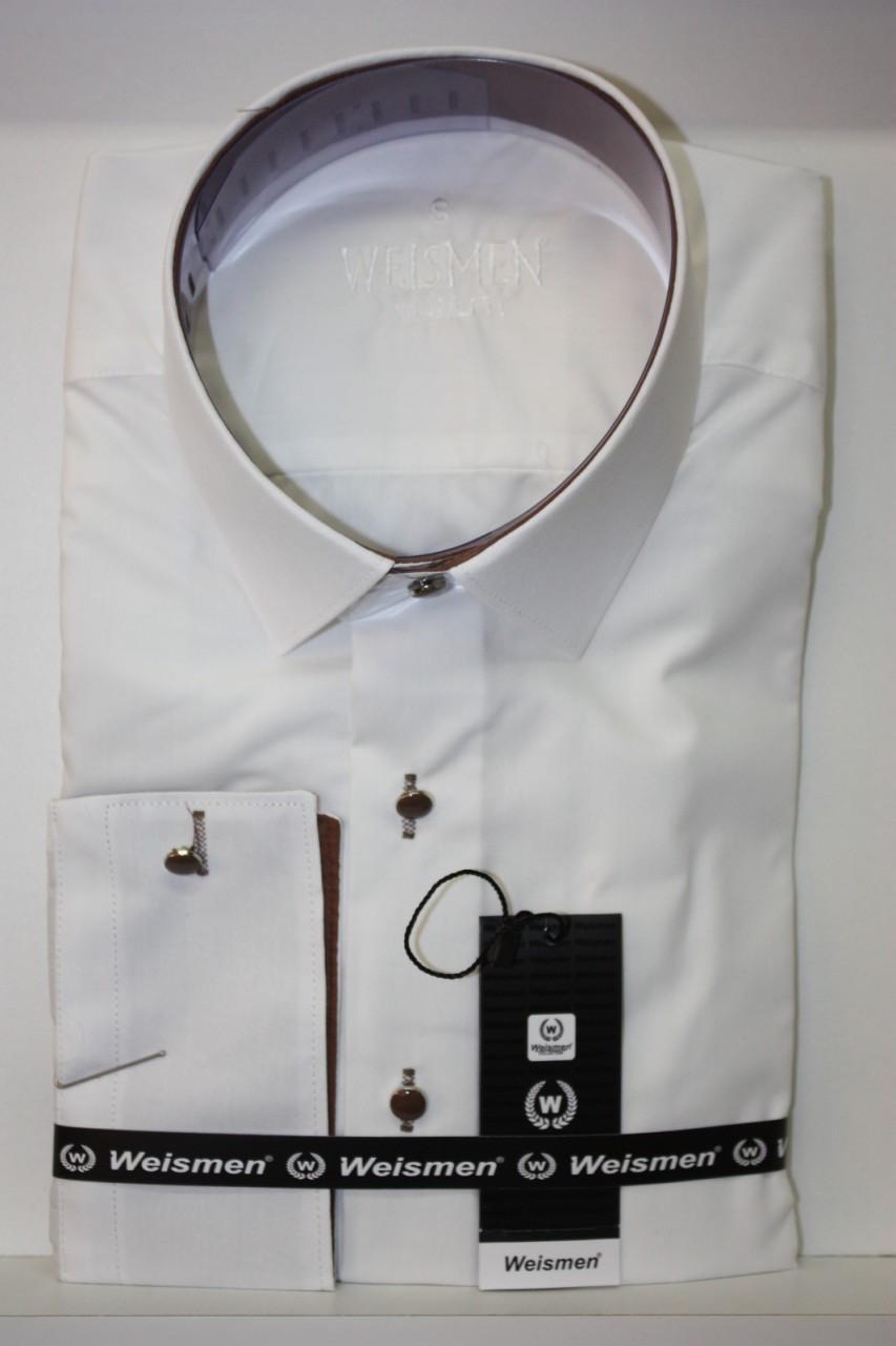 Однотонна приталені сорочка Weismen айворі