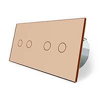 Сенсорный выключатель Livolo 4 канала (2-2) золото стекло (VL-C702/C702-13), фото 1
