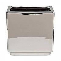 Кашпо для цветов MIRROR SILVER керамика 15 зеркальный куб