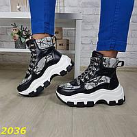 Зимние ботинки кроссовки на высокой тракторной платформе