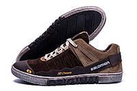 Мужские  кожаные кроссовки Salomon ( реплика), фото 1