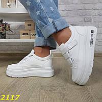 Криперы кроссовки на высокой платформе на липучке белые, фото 1
