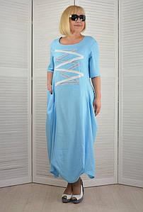 Платье Бохо голубое - Модель Л350-13