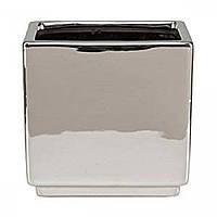 Кашпо для цветов MIRROR SILVER керамика 18 зеркальный куб