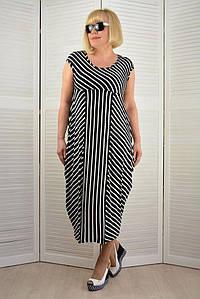 Платье вискоза в черную полоску - Модель Л366-3