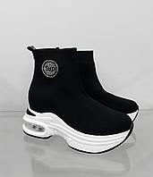 Кроссовки-ботинки женские сетка на стильной высокой подошве