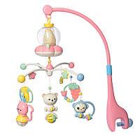 Детская музыкальная карусель мобиль на кроватку Bambi BA6760 розовый