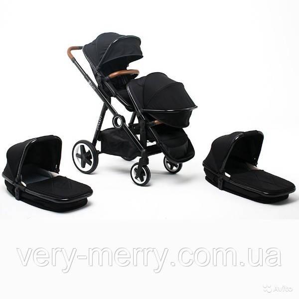 Универсальная коляска для двойни Babyzz Dynasty 2 в 1 (черная) + 2 прогулочных блока и 2 люльки